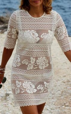 Fabulous Crochet a Little Black Crochet Dress Ideas. Georgeous Crochet a Little Black Crochet Dress Ideas. Crochet Blouse, Crochet Lace, Knit Dress, Dress Skirt, Filet Crochet, Summer Tunics, Summer Dresses, Mode Crochet, Crochet Flower Patterns