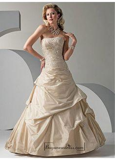 Beautiful Elegant Exquisite Taffeta A-line Wedding Dress In Great Handwork - Buyanewdress.com