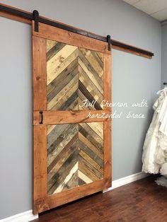 Custom Sliding Barn Door, Modern, Reclaimed, Chevron pattern (price is for one…