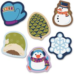 "Carson-Dellosa Winter Mix Mini Cut-outs. Welcome the chilly season in style with this Winter Mix assorted mini Colorful Cut-Outs. The 38 cut-outs in a variety of cool designs ensure that your classroom stays styled for the season. They range in size from 3"" x 3"" to 2-1/2"" x 3"". The set also includes six snowflakes, four mittens, four pinecones and eight each of hats, penguins and snowmen."