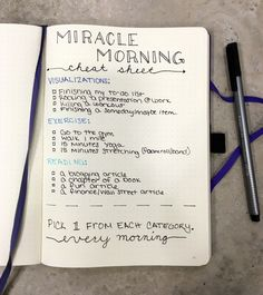 Miracle morning cheat sheet for the bullet journal!