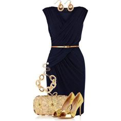 Navy blue and gold. My favorite fashion combination.