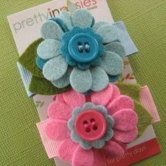 cute felt flower hair clips!