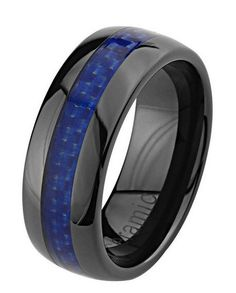 This is a wonderful high quality blue and black ceramic ring. This ceramic ring has a blue carbon fiber center giving it that unique look.