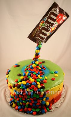 Defying gravity M&M cake!