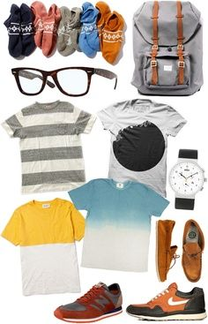 men's socks, men's grey Herschel backpack, men's Ray Ban glasses, men's t-shirts, men's Braun watch, men's New Balance sneakers, men's Nike shoes, men's Element moccasins