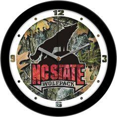 New - North Carolina State Wolfpack-Camo Wall Clock