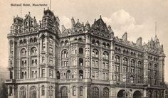 The Midland Hotel, Manchester. Manchester Landmarks, History Manchester, London Manchester, Old Images, Old Pictures, Old Photos, Midland Hotel, Rochdale, Salford