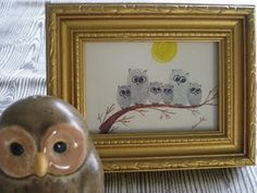 A family craft after our heart! Make this adorable owl family just by using thumbprints. Each family member has the opportunity to leave their own print. You'll just need to use your illustration skills for drawing a moon, tree branch and the owl features.