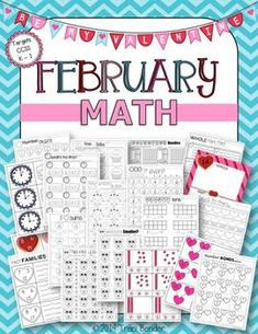 83 pages of Valentine themed and CCSS aligned Math for the month of February! This math packet includes activities suitable for KG and first grade. The majority of this packet is no prep, but does include hands-on centers for Number Bonds, Fact Families, Whole Part Part, Roll & Remove, Tens & Ones, and Telling Time.
