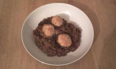 Chorizo and lentil stew, with goat's cheese dumplings.