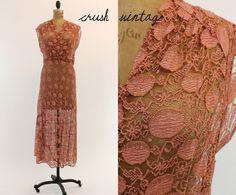 30's Lace Dress S / 1930s Terra Cotta Lace Dress / by CrushVintage, $225.00