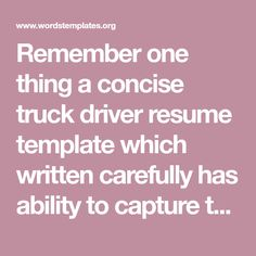 Truck Driver Resume Truck Driver  Office Work  Pinterest  Template