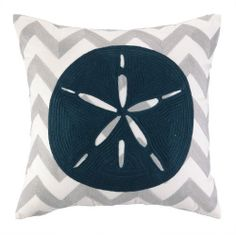 Sand Dollar Pillow. The embroidered chevron design creates a fashionable pattern for our Sand Dollar to adorn.