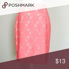 """Price is firm. H&M lace skirt Brand new with tag. Tag says size 10, however will fit 8 or 6. Please see measurements and let me know if you need more measurements. Waist 30"""", hip 40"""".  Length 22.5"""". In watermelon color. No trades 🌷 H&M Skirts Pencil"""