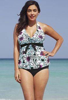 0bad72edc5e Tankini Sets - Shore Club Seafoam Halter Tankini Plus Size Swim