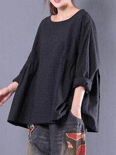 Blouse Large à Carreaux avec Manches Longues Col Rond pour Femme #blousesforwomen