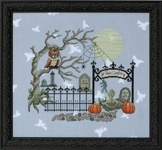 Whooligan's Hangout Counted Cross Stitch Pattern #halloween #crossstitch #graveyard #cemetery #spooky