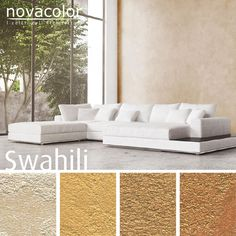 The warm #colors of Swahili by #Novacolor, the textured #metallic available in more than 70 #shades.