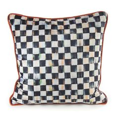 Navy Floral Square Pillow