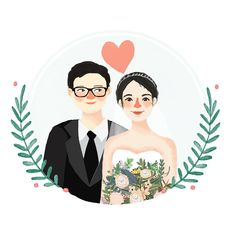 Creating lovely illustrations for your loved ones. by RiaDesignStore Wedding Illustration, Family Illustration, Portrait Illustration, Character Illustration, Couple Drawings, Art Drawings, Wedding Couple Cartoon, Sketch Note, Cute Couple Art