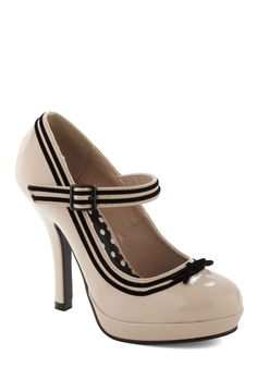Patent Trending Heel in Ivory - Cream, Black, Color Block, Bows, Trim, Work, Pinup, Vintage Inspired, 50s, Cocktail from ModCloth