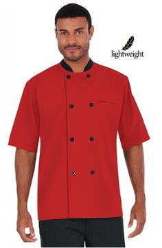 Men's Double Breasted Chef Coat - Plastic Buttons - 65/35 Poly/Cotton Poplin Style #  661311  #chefuniforms #menschefwear #chef #coat #chefcoat #red #black