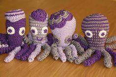 Deze paarse en lila inktvisjes zijn gemaakt door Cecile Habraken
