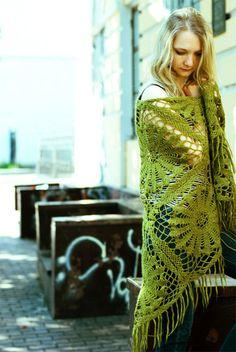 Handmade crochet shawl scarf   Favorite green shawl by Muza, $95.00