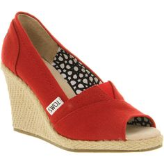 Toms Wedge peeptoe corbel canvas ❤ Glad Toms came up with a dressy wedge