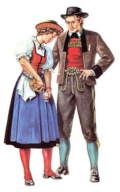 A girl dressed in the dirndl costume pours brandy for a climber in the Tyrol. Historical Costume, Historical Clothing, Folk Clothing, Sasha Doll, Female Head, Romantic Outfit, Folk Costume, Sound Of Music, Couple