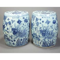 Pair of Chinese Blue and White Glazed Porcelain Garden Seats