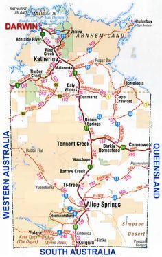 Road Maps for Northern territory NT Australia Map, Western Australia, Bathurst Island, Advance Australia Fair, Australian Road Trip, Darwin, Nature Pictures, Road Maps, Scenery