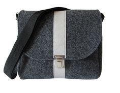 Umhängetasche Filz & vegan Leder ANIKA – schwarz & grau - Filztasche kaufen - Filztaschen von margritli country style