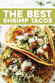 Healthy Dinner Recipes Discover Spicy Shrimp Tacos with Garlic Cilantro Lime Slaw - Pinch of Yum The BEST Shrimp Tacos with Garlic Cilantro Lime Slaw - ready in about 30 minutes and loaded with flavor and texture. SO YUM! Spicy Shrimp Tacos, Shrimp Taco Recipes, Shrimp Taco Sauce, Shrimp Fajitas, Shrimp Taco Seasoning, Shrimp Dinner Recipes, Grilled Fish Tacos, Meals With Shrimp, Recipes With Cilantro