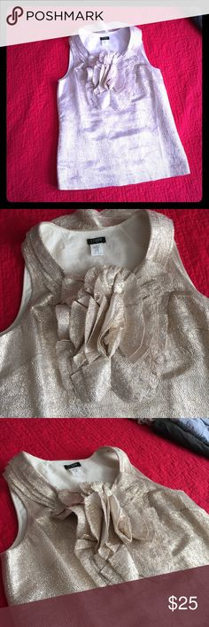 J Crew Gold floral Top size 2 Like new, never worn. Perfectly gorgeous top for any dressy occasion. Last two pics show most accurate color. Size 2. J. Crew Tops