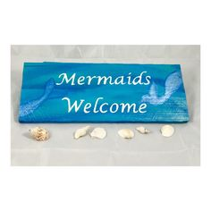 Pallet Wood, Wood Pallets, Mermaid Art, Beach Themes, Welcome, Mermaids, Sign, Handmade Gifts, Party