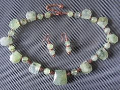 Prehnite and Copper Necklace & Earrings by PeaceofNatureJewelry, $55.00