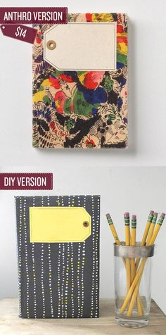 Make you own tagged journal. | 38 Anthropologie Hacks... http://www.radicalpossibility.com/2012/07/making-anthro-inspired-moleskine-and.html