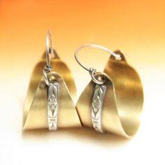 Mixed Metal Hoop Earrings, Rustic Jewelry, Metalsmith Jewelry, Earthy Casual Bronze And Sterling Silver Earrings, Brass Basket Earrings