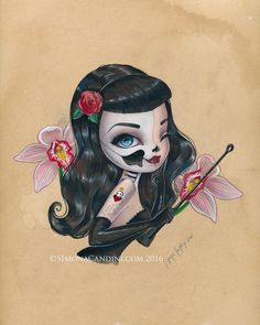 Skully Bettie Page LIMITED EDITION print signed numbered Simona Candini lowbrow pop surreal big eyes skull pinup girl goth art Hollywood - My Sugar Skulls Pin Up, Original Paintings, Original Art, Bettie Page, Dibujos Cute, Goth Art, Arte Horror, Skull Art, Big Eyes