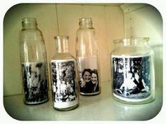 Fotos in glazen potten - makkelijke wissellijst