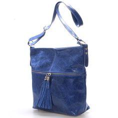 #crossbody #italy Modrá kožená velká crossbody kabelka ItalY Isabel