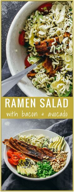 Ramen salad with bacon and avocado - Crunch into this ramen salad  crumbled ramen noodles are mixed with crispy bacon, sliced avocado, and grape tomatoes. This is an easy (just throw everything together in a bowl) and delicious recipe for those of you wh