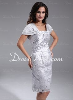 Sheath Off-the-Shoulder Knee-Length Charmeuse Mother of the Bride Dress With Ruffle Lace (008006389)