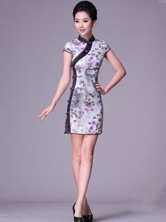 Short Cotton Floral Cheongsam / Qipao / Chinese Party Dress