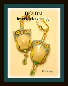 Wire wrapped Porcelain Owls... Blue Green Yellow by beadsnoops, $12.00