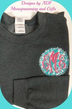 Crew Neck Sweatshirt with 4 ragged circle monogram by DesignsbyADF, $39.99