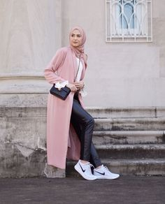 Hijab + Duster Coat + Pink + Nikes (withloveleena)