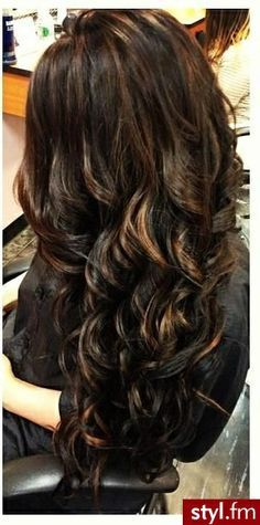 Beautiful Balayage lowlights on dark hair...